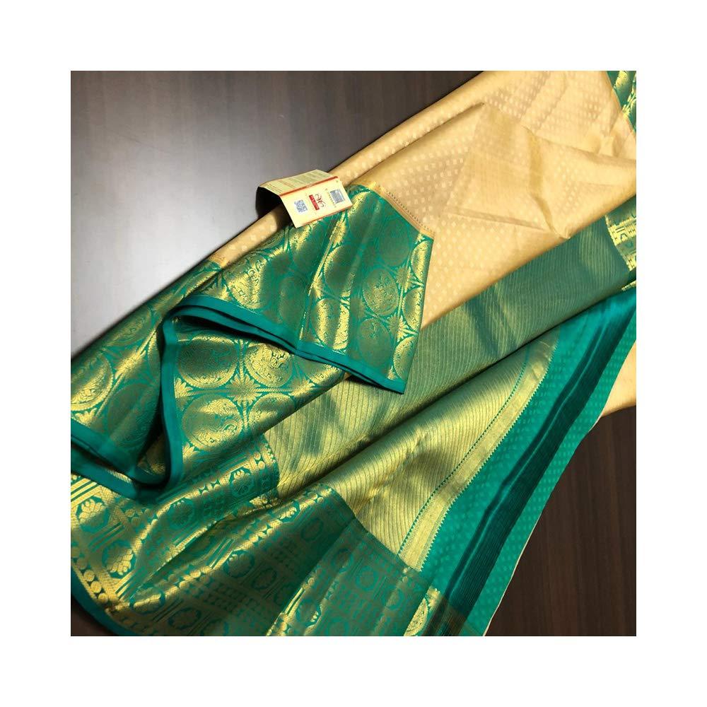 1c26245de7 Amazon.com: Fashion Vibes Kanchipuram Pattu Silk Sarees (Cream): Clothing