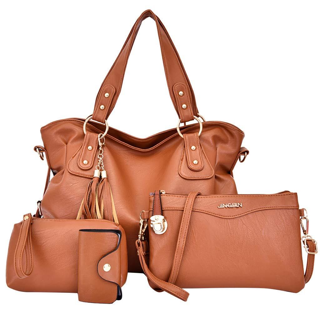 NEARTIME Women's Handbags 4Pcs Purses Large Tote Shoulder Bag Top Handle Satchel Bag for Work Messenger Bag+Card Package by NEARTIME