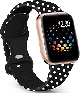 GeekSpark Sport Band Compatible with Apple Watch Bands 42mm 44mm for Women Men, Floral Printed Fadeless Pattern Silicone Replacement Strap Band for iwatch SE/Series 6/5/4/3/2/1 42mm/44mm S/M