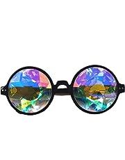 Lunettes kaléidoscope Florata délirantes, Steampunk avec verres multicolores arc-en-ciel, diffraction par prisme Taille unique noir