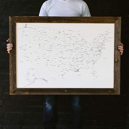 Amazon Com Large Ivory Us Map Push Pin Travel Map Framed United