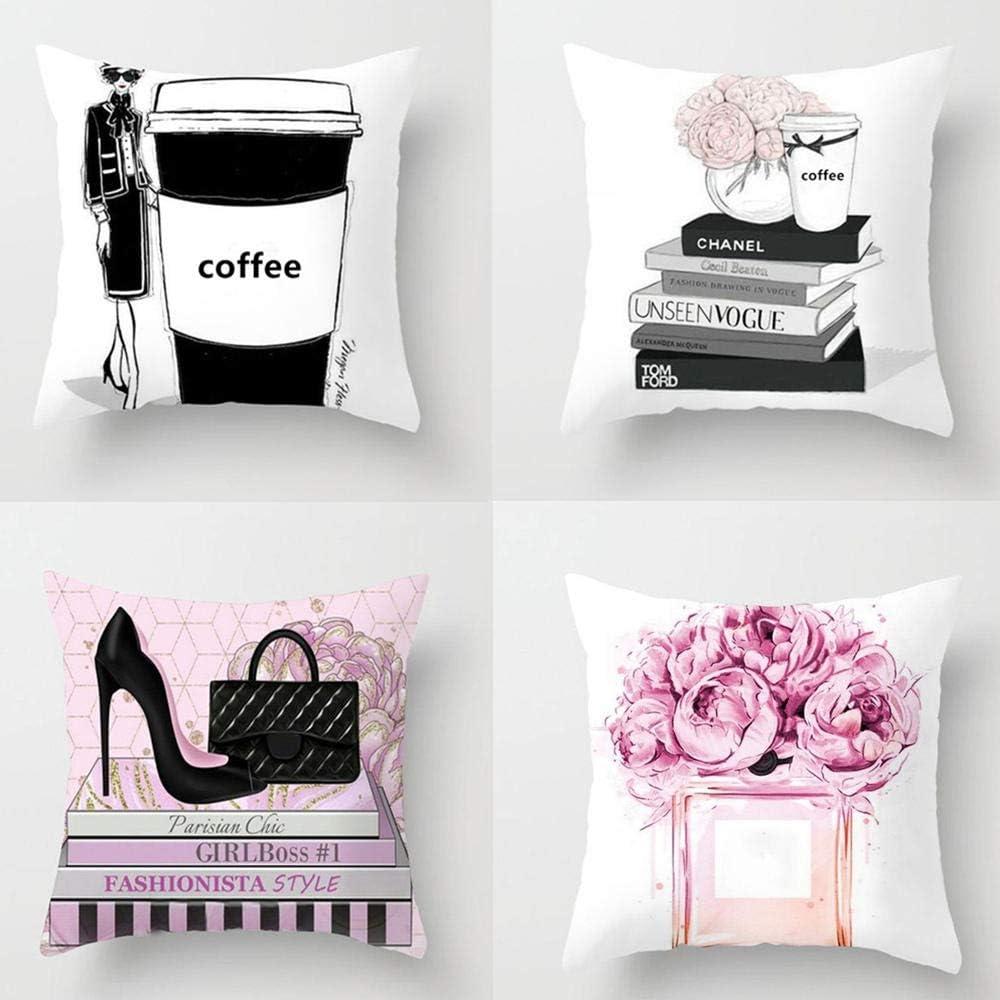 Decorative Pillow Perfume Bottle Cushion Covers Short Plush Pillowcase Suitable For Sofa Living Room Bedroom Bed Chair Office Car Decoration 4 Pcs 45 X 45 Cm Without Pillow Core Amazon Co Uk Kitchen