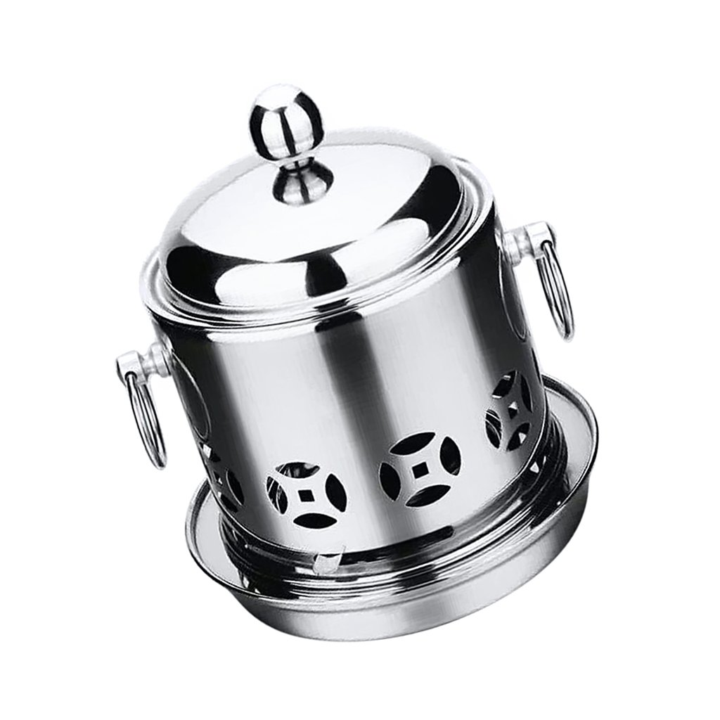 D DOLITY Stainless Steel Hot Pot Alcohol Burner Alcohol Stove Camping Hiking Travel Cooker Backpacking, 2 Colors Available - Silver