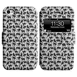 LEOCASE gato negro Funda Carcasa Cuero Tapa Case Para Apple iPhone 4 / 4S No.1005791
