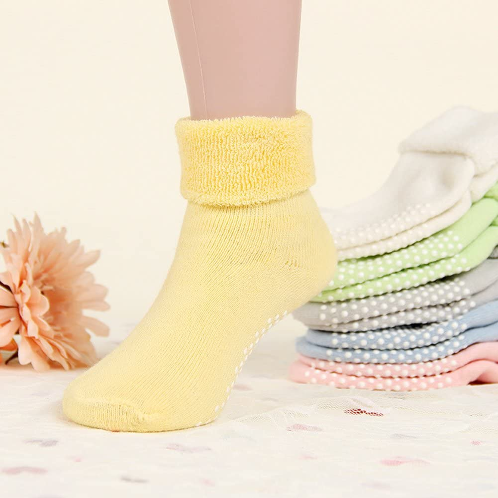 VWU Unisex Baby Boys Girls Anti-slip Cuff Socks Thick Cotton Socks 6 Pack