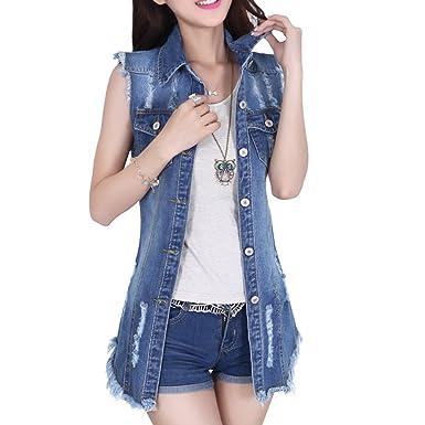 6225380999b3f Dasior Women s Distressed Sleeveless Long Denim Cardigan Vest Jean Jacket  Plus Size at Amazon Women s Coats Shop