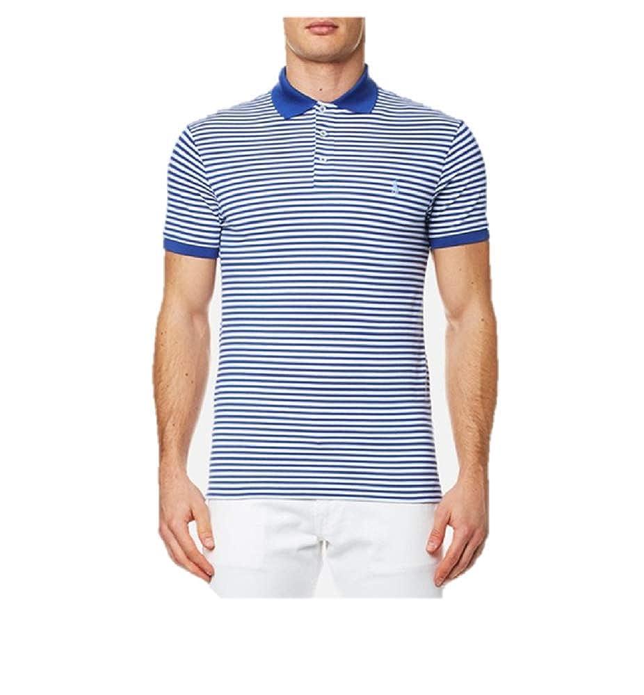 03de8b472 Blue And White Striped Polo Shirt   Top Mode Depot