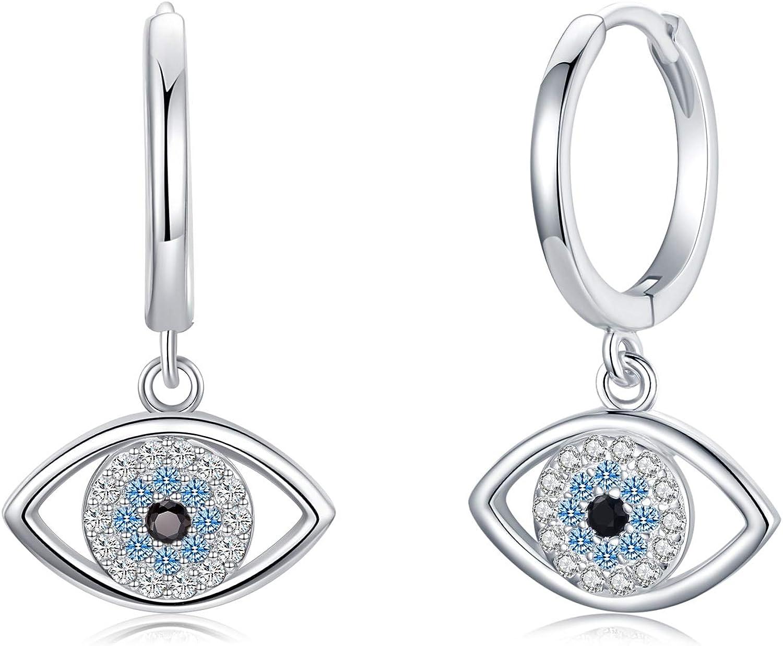 Sterling silver green stone and evil eye earrings!