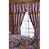 Camouflage Curtains The Woods Purple Camouflage 5pc Curtain Set by Regal Comfort For Hunters Cabin or Rustic Lodge Teens Boys and Girls (Curtain , Purple)
