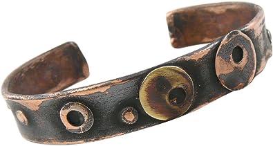 American Made Rustic Unisex Copper Cuff Bracelet Running Fox Motif
