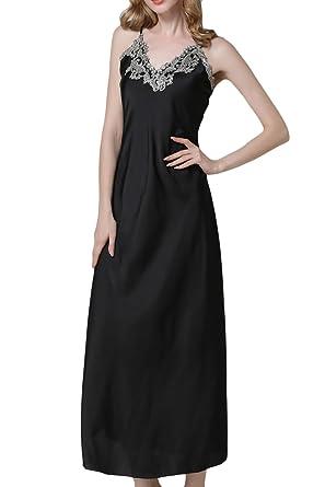 ASHER FASHION Asherbaby Women s Nightdress Satin Nightgowns Long Chemise  Sleepwear Black M 3eb218c4c
