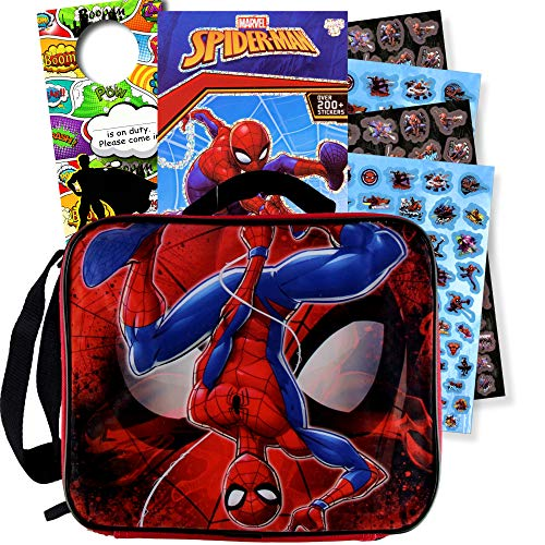 Disney Soft Rectangular Lunch Bag Set with Stickers (Spiderman)]()