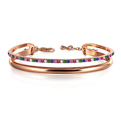 2e89f98bf Amazon.com: THEHORAE Rose Gold Braclet for Women 'Timeline' Cuff ...