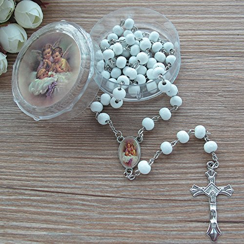 Baptism White Scented Rosary Favor - 12 Guardian Angel Rosaries with individual Gift Box and Bag