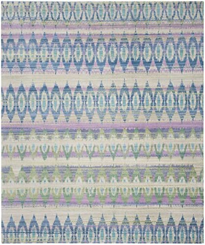 Safavieh Valencia Collection VAL220M Purple and Multi Distressed Bohemian Silky Polyester Area Rug 8 x 10