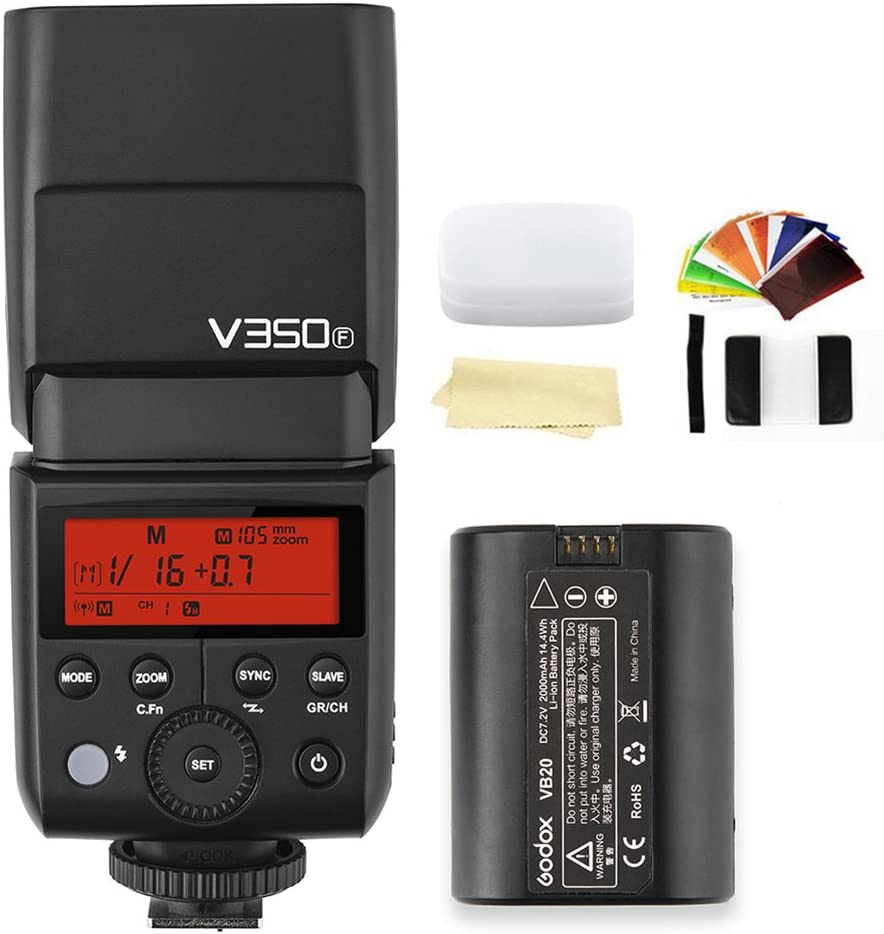 Godox V350F TTL 2.4G GN36 HSS 1//8000s Camera Flash Speedlite Light with Rechargeable 7.2V//2000mAh Lithium Battery Compatible for FUJIFILM Camera