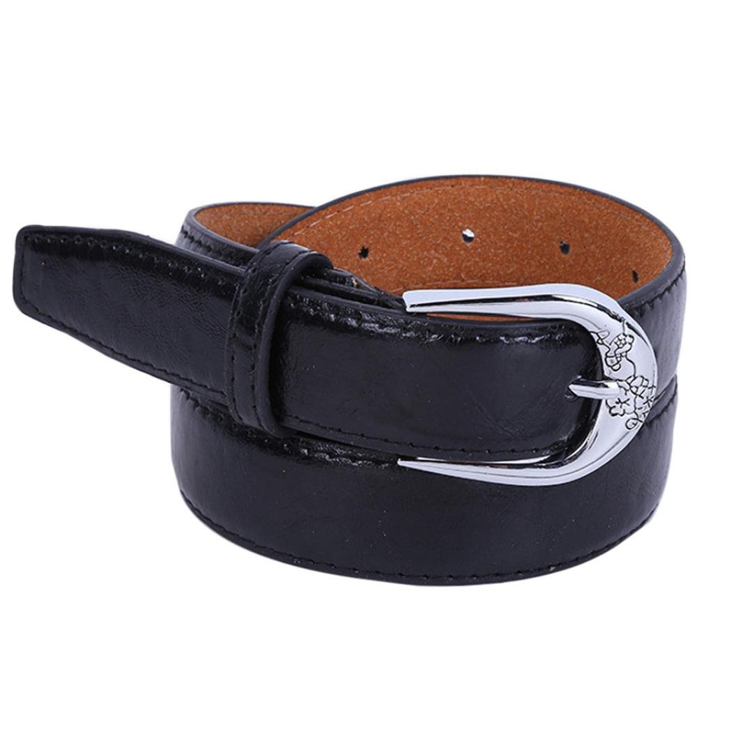 Siviki Fashion Women's Vintage Dress Belt Solid PU Leather Accessories Casual Thin Leisure Belt (Black) by Siviki (Image #1)