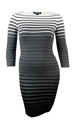 cc341025be Lauren Ralph Lauren Women s Ombre Striped Sheath Sweater Dress (PL ...