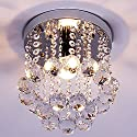 ZEEFO Crystal Chandeliers Light, Mini Style Modern Décor Flush Mount Fixture With Crystal Ceiling Lamp For Hallway, Bar, Kitchen, Dining Room, Kids Room (8 inch)