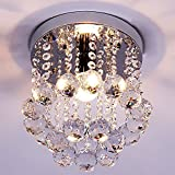 Kitchen Bar Light Fixtures ZEEFO Crystal Chandeliers Light, Mini Style Modern Dcor Flush Mount Fixture With Crystal Ceiling Lamp For Hallway, Bar, Kitchen, Dining Room, Kids Room (8 inch)