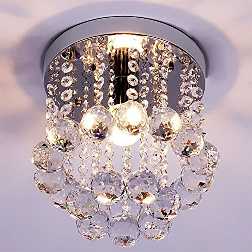 ZEEFO Crystal Chandeliers Light, Mini Style Modern Décor Flush Mount Fixture With Crystal Ceiling Lamp For Hallway, Bar, Kitchen, Dining Room, Kids Room (8 inch) - Light Beautiful Crystal Chandelier