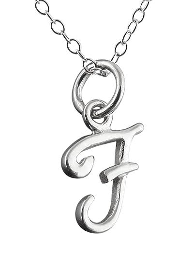 b4ae206df41d Plata de Ley Pequeño Inicial Letra F encanto collar