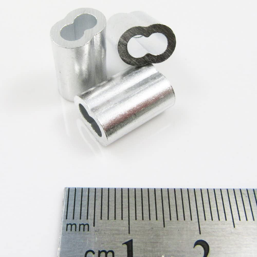 50 x 6mm Aluminium Wire Rope Ferrules for use with GALVANISED WIRE ROPE