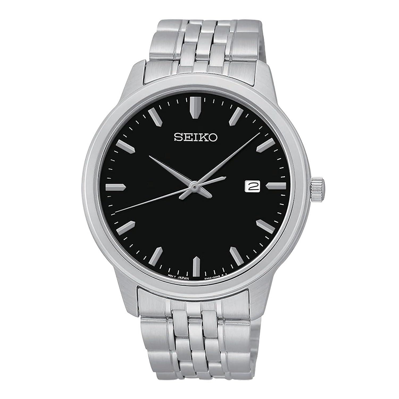 セイコーMen 's Quartz Watchブラックダイヤルステンレススチールブレスレットsur093 B01DE6PVO6