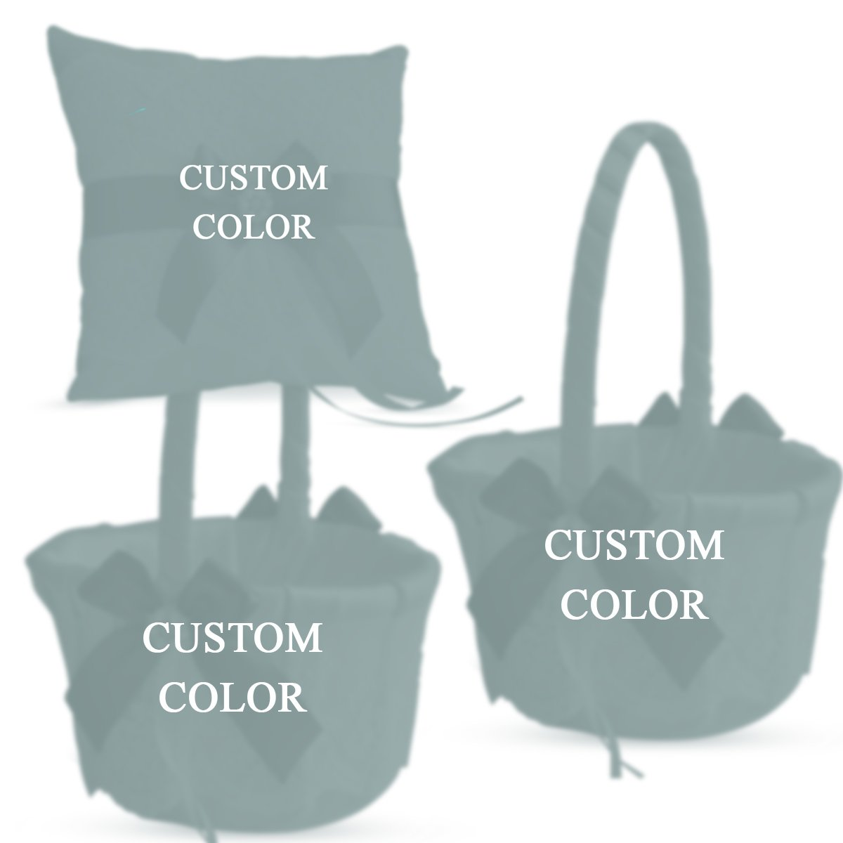 Alex Emotions Ivory Ring Bearer Pillow and Basket Set | Lace Collection | Flower Girl & Welcome Basket for Guest | Handmade Wedding Baskets & Pillows (Custom Color)