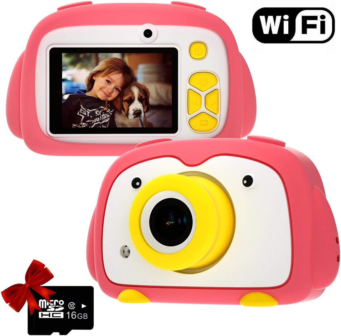 Kids Camera PANNOVO WiFi Digital Cam for Girls Rechargeable Video Recorder Cartoon Shockproof Silicone Case with 16GB SD Card 24MP HD 720P 2 Inch Screen for 3-12 Year Old Boys Toddler - Pink