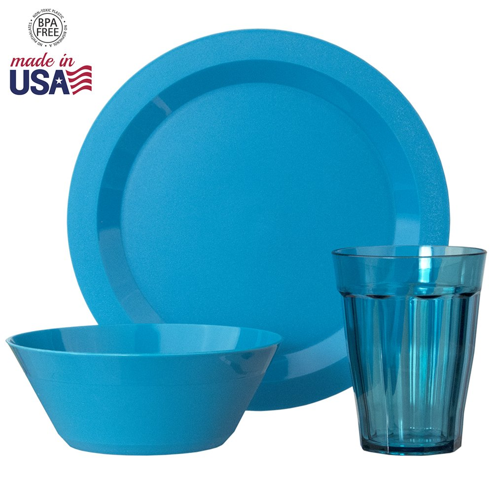 Cambridge Plastic Plate, Bowl and Tumbler Dinnerware | 12-piece set Teal by US Acrylic (Image #3)