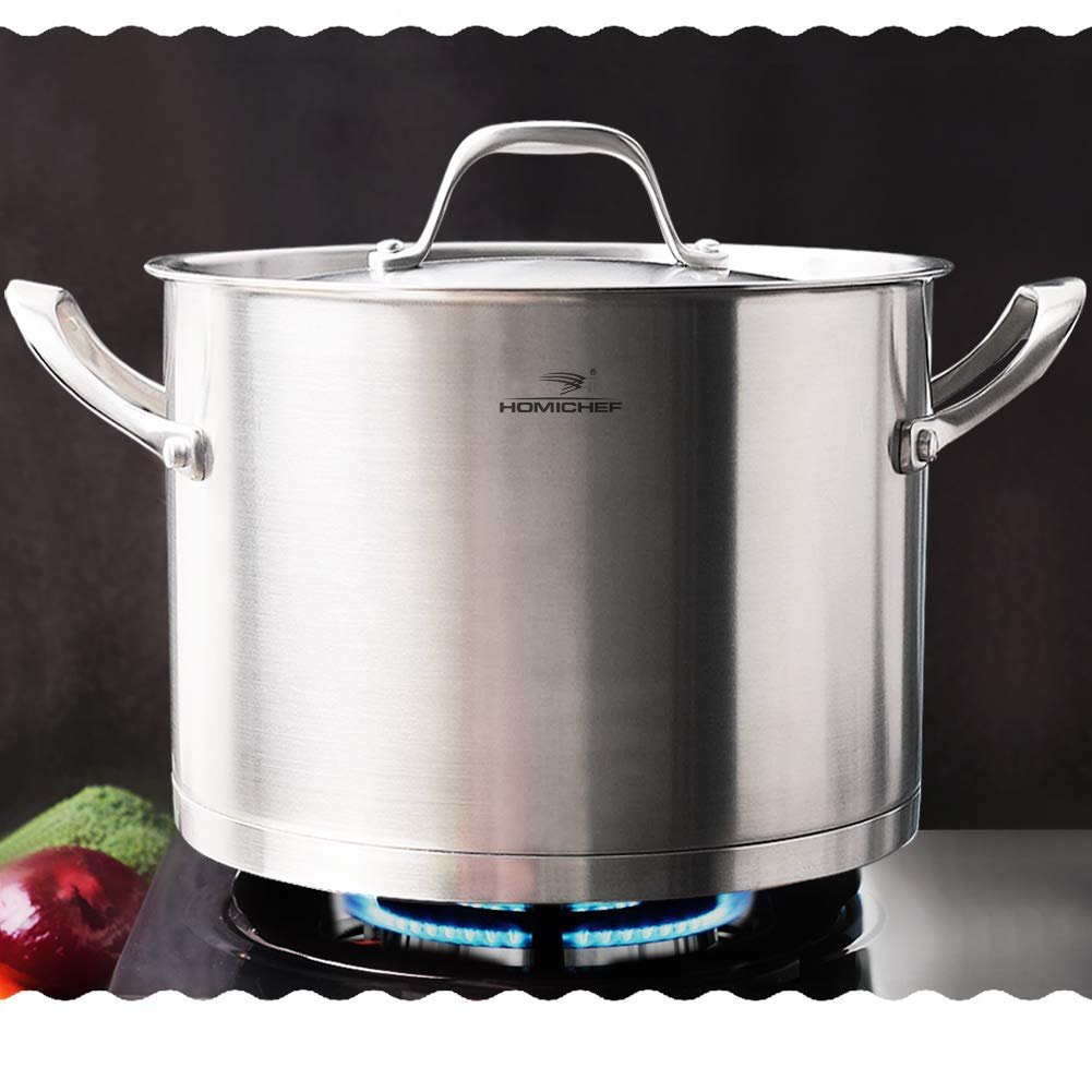 HOMI CHEF LARGE HEAVY ECOLOGICAL NICKEL FREE Stainless Steel Stock Pot 8qt w/Lid (No Toxic Non Stick Coating, 5.1LBS) - Induction Pot 8 Quart Cooking Pot Stew Pot 4 Soup Pot Dutch Oven Pot Casserole by Homichef