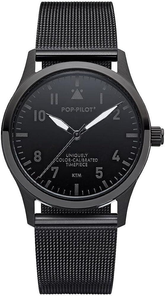 Pop De Pilot® Piloto Reloj I Precious Metals I Relojes de Pulsera con Acero Pulsera 20mm I Impermeable I 36,5mm
