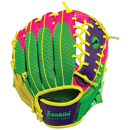 Franklin Sports Teeball Glove - Left and Right Handed Youth Fielding Glove - Meshtek Series - Synthetic Leather Baseball Glove - Ready To Play Glove - 9.5 Inch Right Hand Throw - Purple/Pink/Yellow