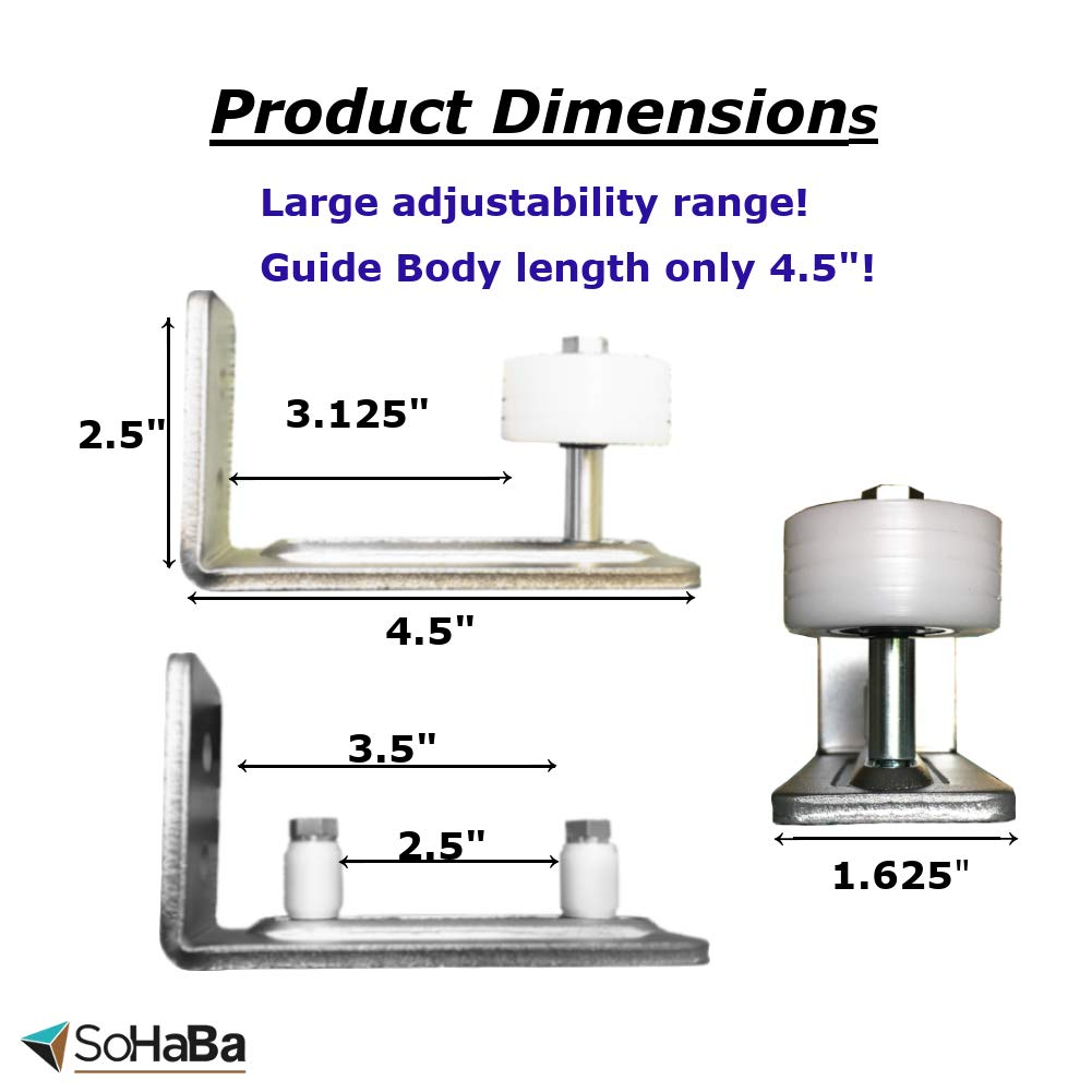 BARN Door Guide Chrome, Stainless Steel, Nickel Color | Adjustable Wall Mount Roller Stay Guide |15 Unique Setup Options | Sits Flush to Floor | White Non-Scratch Wheels | Premium Roller Bearing by SoHaBa (Image #4)