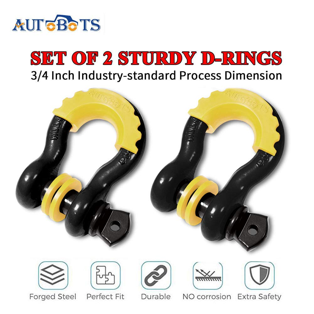 and Vehicle Recovery Heavy Duty D-Rings for Tow Strap AUTOBOTS Shackle 3//4 D-Rings Shackle 2 Pack with Black Isolator Washer Off-Road 20 Ton Maximum Break Strength Jeep Towing Winch