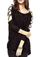 S-MSS Women's Long sleeve Open Shoulder Knitwear Top Blouses