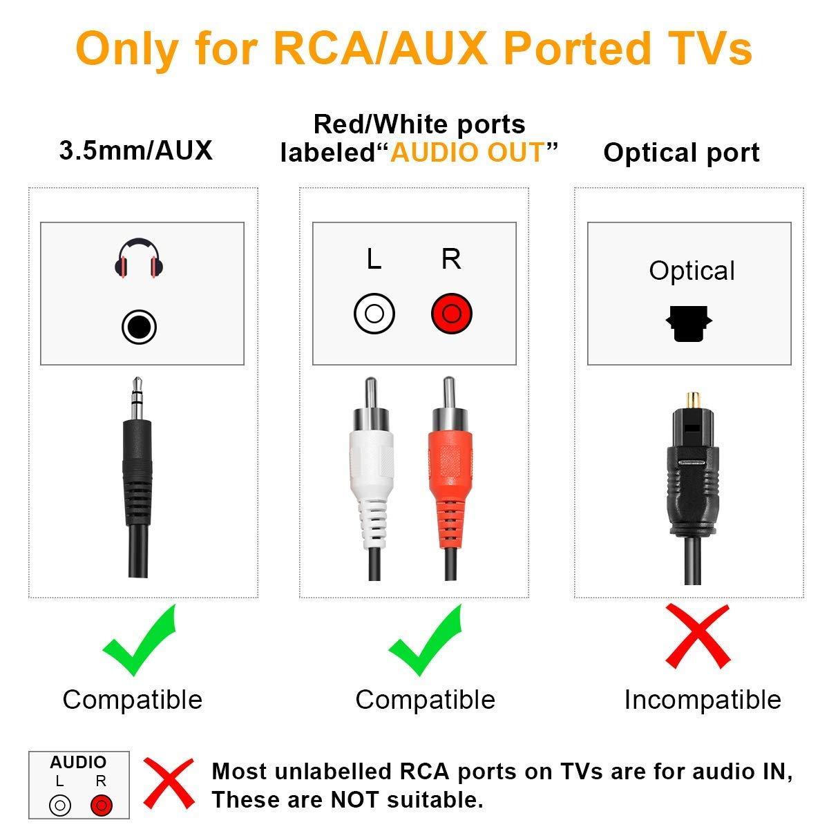 TX9 Transmisor Bluetooth para TV Alta Fidelidad Est/éreo Baja Latencia PC soporta 3.5mm, RCA, USB Audio de PC Conexi/ón Dual Adaptador Inal/ámbrico de Audio para Auriculares Plug and Play