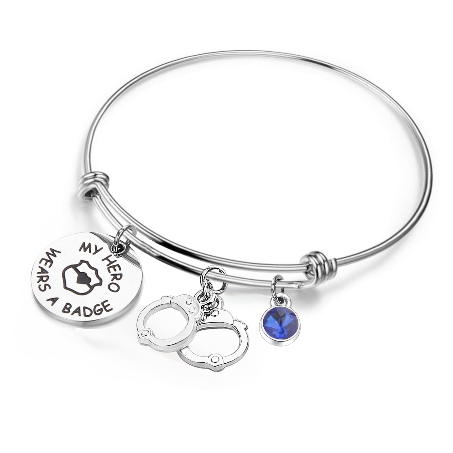 KUIYAI My Hero Wears a Badge Police Bracelet with Handcuff Charm Bracelet for Dad Mom (bracelet silver) by KUIYAI (Image #1)