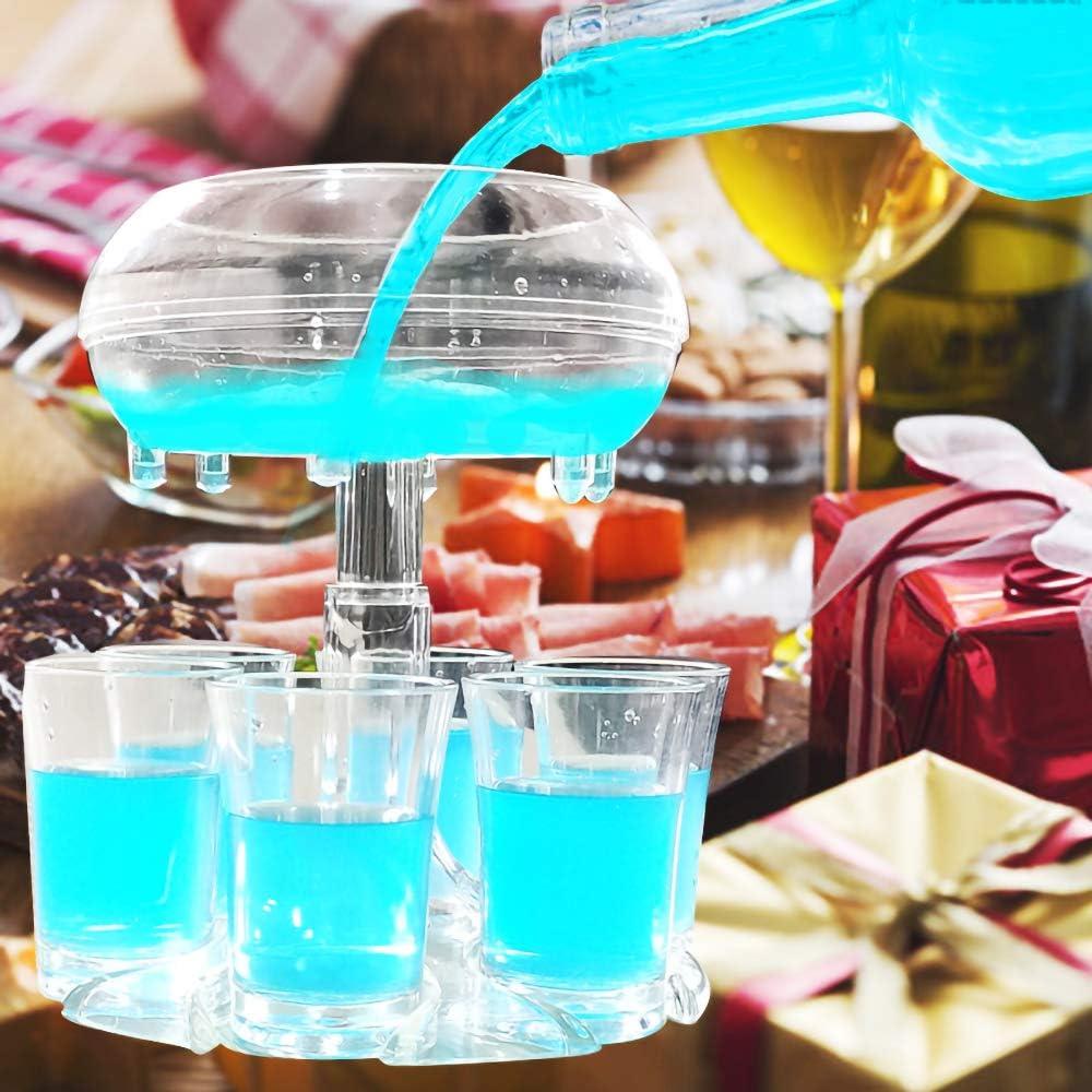 Convetu Shot Glass Dispenser with Cups and Holder, Upgrade Shot Pourer Dispenser for Bottle, Shot Dispenser with Shot Glasses Included and Stoppers Alcohol Dispenser for Shots (Dispenser with Glass)