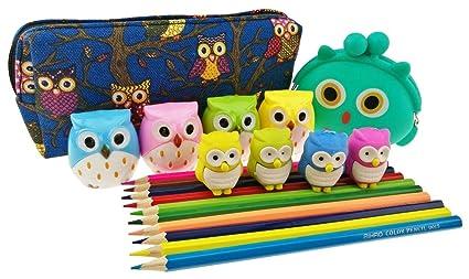Set de 4 tipos de búho tema papelería incluye 1 lápiz caso/2 ...
