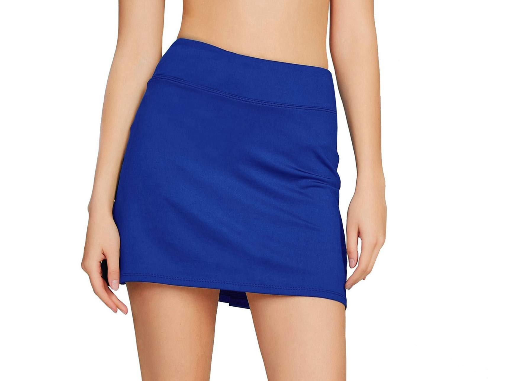 Women's Casual Pleated Tennis Golf Skirt with Underneath Shorts Running Skorts bu xs Blue