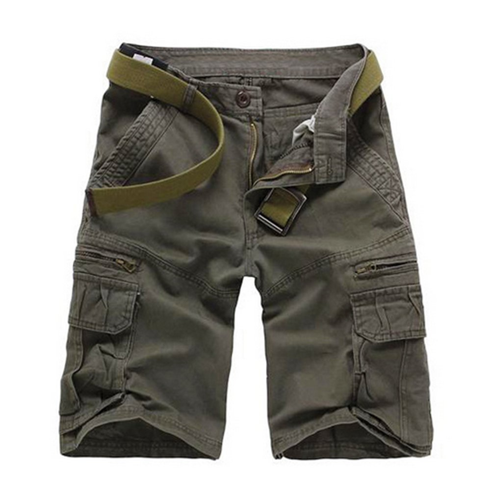Musen Men Cotton Relaxed Fit Multi Pocket Outdoor Casual Cargo Shorts Grey 33