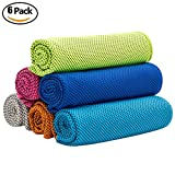 Keklle 6 Pack Cooling Towel,Super Absorbent Cooling Towel for Sports,Workout,Fitness,Gym,Yoga,Pilates, Travel,Camping