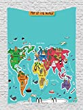 Ambesonne Colorful Educational Kids Maps Decor Collection, America Africa Asia Australia Pacific Indian Atlantic Ocean Image, Bedroom Living Teens Room Dorm Accessories Wall Hanging Tapestry, Blue
