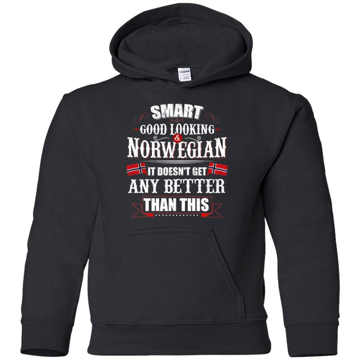 Shirt White Little Girls Smart Good Looking and Norwegian:G185B Gildan Youth Pullover Hoodie