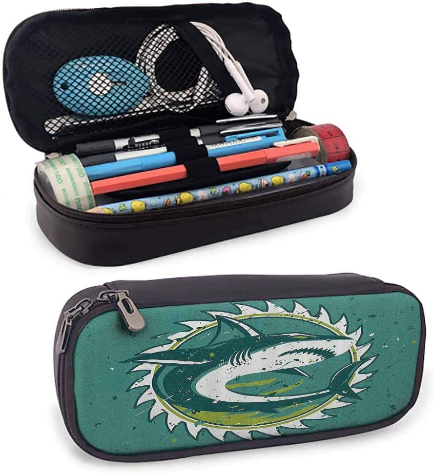 Sea Animal Decor Pencil Bag Graphic of Shark in Dark Murky Colors Sharp Teeth Fish Marine Nautical for Pen, Pencil, Pen Accessories, USB Cable, Earphone, Fountain Pen Green