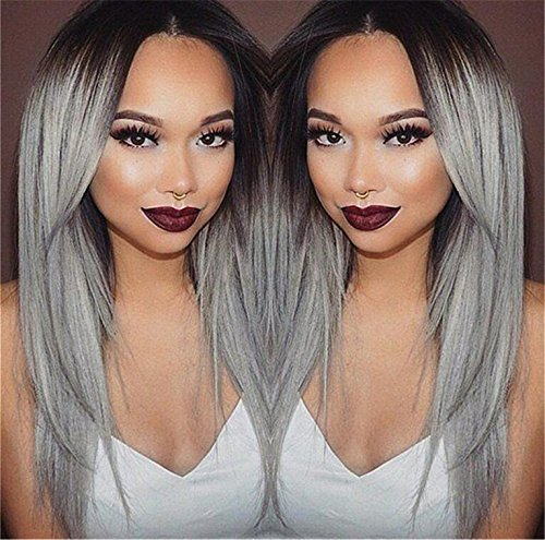 Superwigy® Long Straight Hair Two Tone Black and Grey Ombre Wig Heat Resistant Fiber Synthetic Wigs by SuperWigy (Image #1)