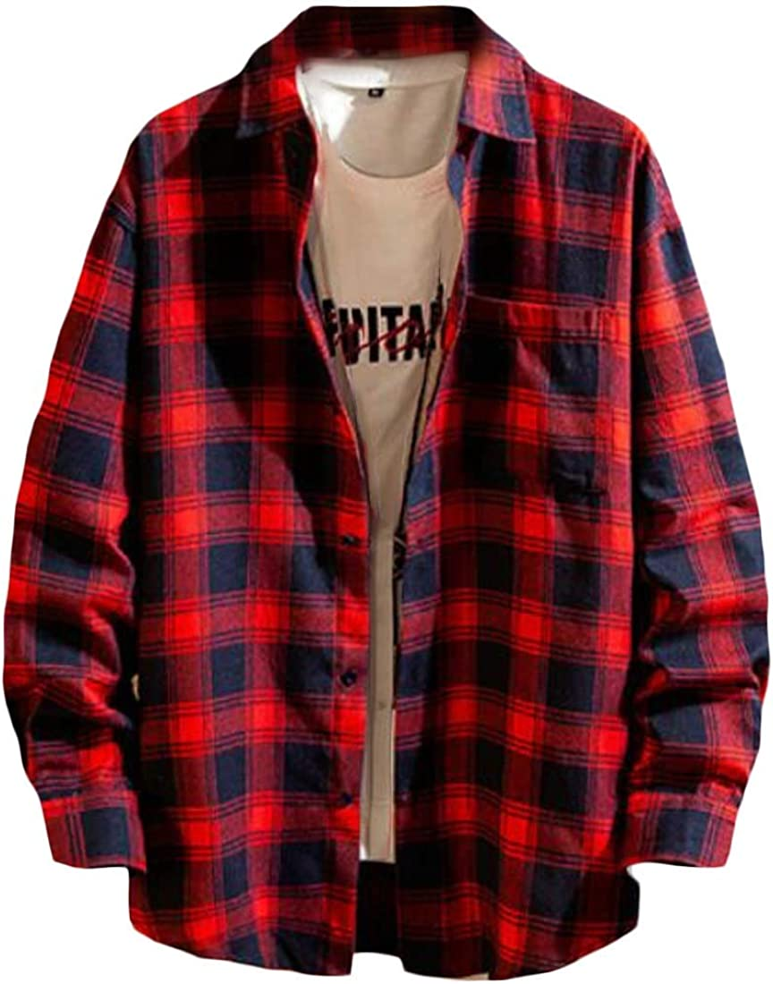 CRYYU Men Cotton Button Down Slim Fit Long Sleeve Plaid Print Plus Size Shirts
