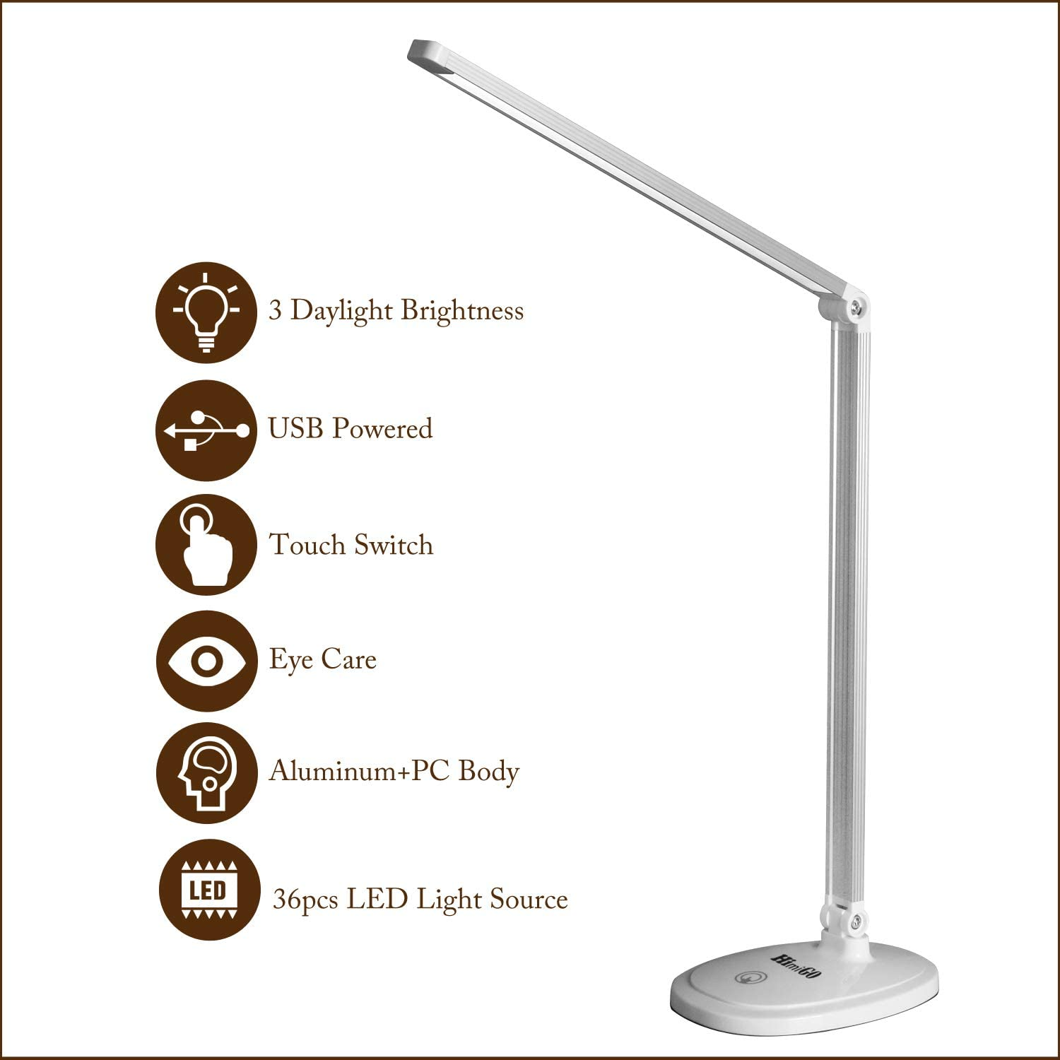 LED Desk Lamp, Eye-Caring Table Lamps,Office Lamp, Touch Control Function, USB Powered Lamp,Foldable Portable Lamp for Reading Studying Working,White,Himigo